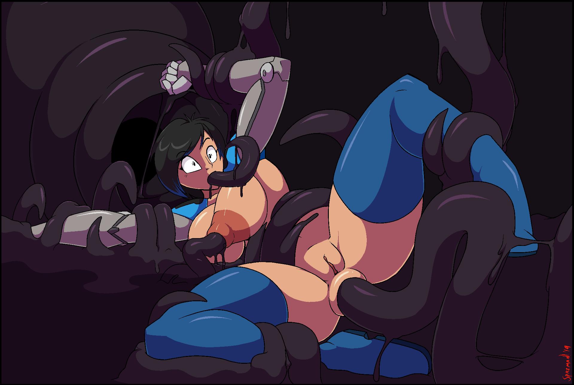 way porn through the all tentacle My hero academia alien girl